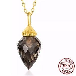 Smoky Quartz & Gold Plated Necklace 101590